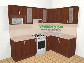 Угловая кухня МДФ матовый в классическом стиле 6,0 м², 240 на 160 см, Вишня темная, верхние модули 72 см, модуль под свч, отдельно стоящая плита