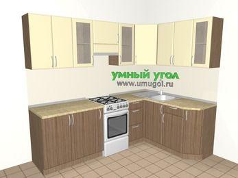 Угловая кухня МДФ матовый 6,0 м², 2400 на 1600 мм, Ваниль / Лиственница бронзовая, верхние модули 720 мм, отдельно стоящая плита