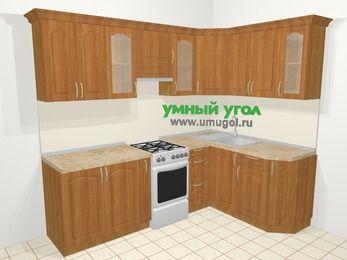Угловая кухня МДФ матовый в классическом стиле 6,0 м², 240 на 160 см, Вишня, верхние модули 72 см, отдельно стоящая плита