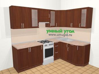 Угловая кухня МДФ матовый в классическом стиле 6,0 м², 240 на 160 см, Вишня темная, верхние модули 72 см, отдельно стоящая плита
