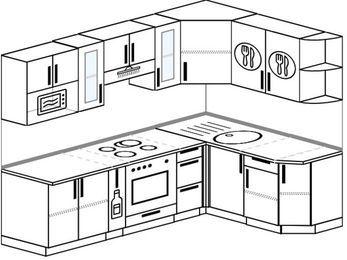 Планировка угловой кухни 6,0 м², 2400 на 1600 мм: верхние модули 720 мм, корзина-бутылочница, встроенный духовой шкаф, модуль под свч