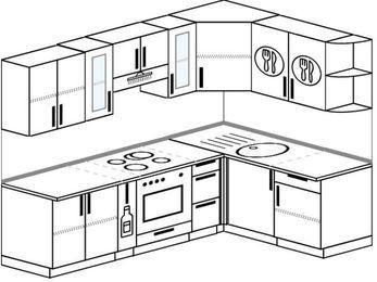 Угловая кухня 6,0 м² (2,4✕1,6 м), верхние модули 72 см, встроенный духовой шкаф