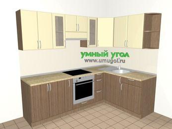 Угловая кухня МДФ матовый 6,0 м², 2400 на 1600 мм, Ваниль / Лиственница бронзовая, верхние модули 720 мм, встроенный духовой шкаф