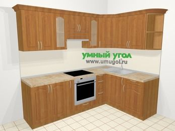 Угловая кухня МДФ матовый в классическом стиле 6,0 м², 240 на 160 см, Вишня, верхние модули 72 см, встроенный духовой шкаф