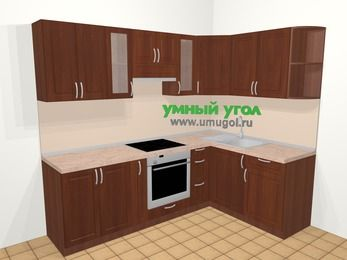 Угловая кухня МДФ матовый в классическом стиле 6,0 м², 240 на 160 см, Вишня темная, верхние модули 72 см, встроенный духовой шкаф
