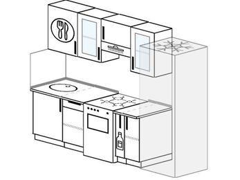 Планировка прямой кухни 5,0 м², 240 см (зеркальный проект): верхние модули 72 см, отдельно стоящая плита, корзина-бутылочница, холодильник