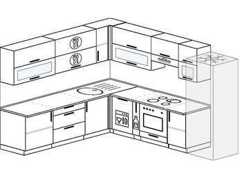 Планировка угловой кухни 9,2 м², 240 на 280 см (зеркальный проект): верхние модули 72 см, посудомоечная машина, корзина-бутылочница, встроенный духовой шкаф, холодильник