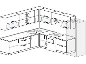 Планировка угловой кухни 9,2 м², 240 на 280 см (зеркальный проект): верхние модули 72 см, корзина-бутылочница, отдельно стоящая плита, холодильник