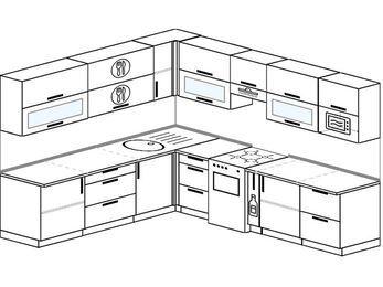 Планировка угловой кухни 9,2 м², 240 на 280 см (зеркальный проект): верхние модули 72 см, отдельно стоящая плита, корзина-бутылочница, модуль под свч