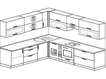 Планировка угловой кухни 9,2 м², 240 на 280 см (зеркальный проект): верхние модули 72 см, посудомоечная машина, корзина-бутылочница, встроенный духовой шкаф