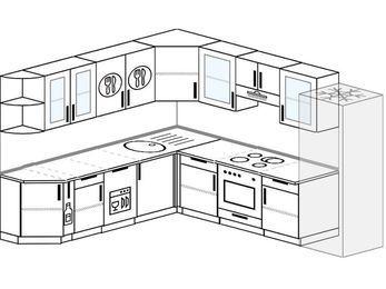 Планировка угловой кухни 9,2 м², 240 на 280 см (зеркальный проект): верхние модули 72 см, корзина-бутылочница, посудомоечная машина, встроенный духовой шкаф, холодильник