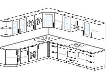 Планировка угловой кухни 9,2 м², 240 на 280 см (зеркальный проект): верхние модули 72 см, корзина-бутылочница, посудомоечная машина, встроенный духовой шкаф