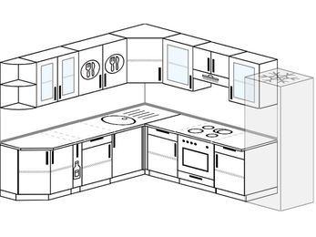Планировка угловой кухни 9,2 м², 240 на 280 см (зеркальный проект): верхние модули 72 см, корзина-бутылочница, встроенный духовой шкаф, холодильник