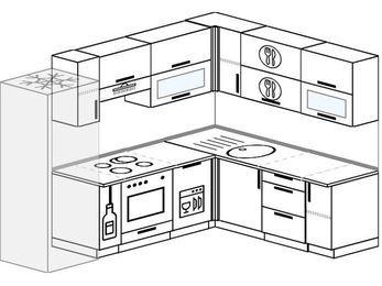Планировка угловой кухни 7,0 м², 250 на 190 см: верхние модули 72 см, холодильник, корзина-бутылочница, встроенный духовой шкаф, посудомоечная машина