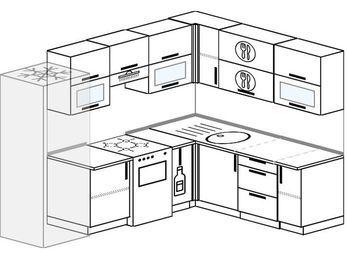 Планировка угловой кухни 7,0 м², 250 на 190 см: верхние модули 72 см, холодильник, отдельно стоящая плита, корзина-бутылочница