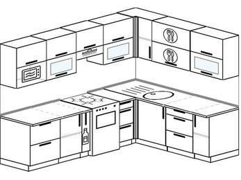 Планировка угловой кухни 7,0 м², 2500 на 1900 мм: верхние модули 720 мм, корзина-бутылочница, отдельно стоящая плита, модуль под свч