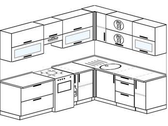 Планировка угловой кухни 7,0 м², 250 на 190 см: верхние модули 72 см, отдельно стоящая плита, корзина-бутылочница