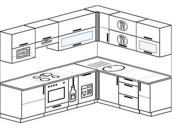 Планировка угловой кухни 7,0 м², 250 на 190 см: верхние модули 72 см, встроенный духовой шкаф, корзина-бутылочница, посудомоечная машина, верхний модуль под свч