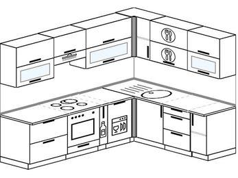 Планировка угловой кухни 7,0 м², 250 на 190 см: верхние модули 72 см, встроенный духовой шкаф, корзина-бутылочница, посудомоечная машина