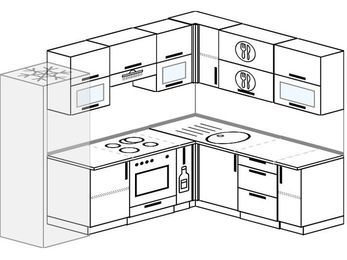 Планировка угловой кухни 7,0 м², 250 на 190 см: верхние модули 72 см, холодильник, встроенный духовой шкаф, корзина-бутылочница