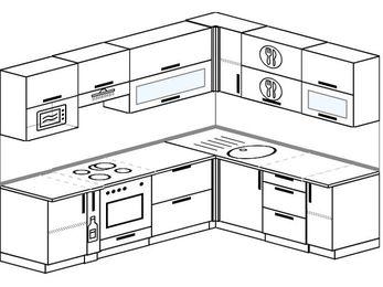 Планировка угловой кухни 7,0 м², 250 на 190 см: верхние модули 72 см, корзина-бутылочница, встроенный духовой шкаф, верхний модуль под свч