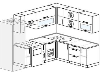 Планировка угловой кухни 7,0 м², 250 на 190 см: верхние модули 72 см, холодильник, отдельно стоящая плита, корзина-бутылочница, посудомоечная машина