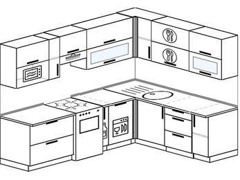 Планировка угловой кухни 7,0 м², 250 на 190 см: верхние модули 72 см, отдельно стоящая плита, корзина-бутылочница, посудомоечная машина, верхний модуль под свч