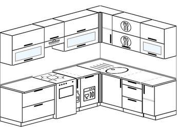 Планировка угловой кухни 7,0 м², 250 на 190 см: верхние модули 72 см, отдельно стоящая плита, корзина-бутылочница, посудомоечная машина