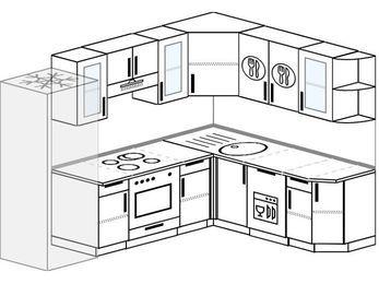 Планировка угловой кухни 7,0 м², 250 на 190 см: верхние модули 72 см, холодильник, встроенный духовой шкаф, посудомоечная машина