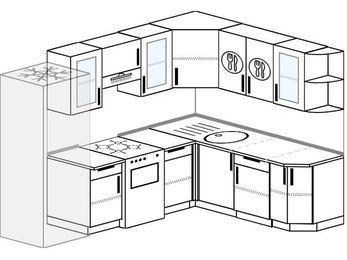 Планировка угловой кухни 7,0 м², 250 на 190 см: верхние модули 72 см, холодильник, отдельно стоящая плита