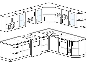 Планировка угловой кухни 7,0 м², 250 на 190 см: верхние модули 72 см, отдельно стоящая плита, корзина-бутылочница, модуль под свч