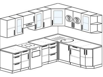 Планировка угловой кухни 7,0 м², 2500 на 1900 мм: верхние модули 720 мм, отдельно стоящая плита