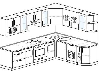 Планировка угловой кухни 7,0 м², 250 на 190 см: верхние модули 72 см, встроенный духовой шкаф, посудомоечная машина, корзина-бутылочница, модуль под свч