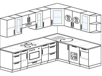 Планировка угловой кухни 7,0 м², 250 на 190 см: верхние модули 72 см, встроенный духовой шкаф, посудомоечная машина