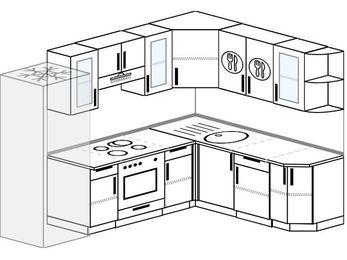 Планировка угловой кухни 7,0 м², 250 на 190 см: верхние модули 72 см, холодильник, встроенный духовой шкаф