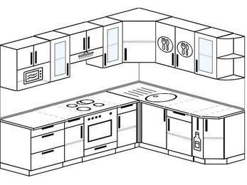 Планировка угловой кухни 7,0 м², 250 на 190 см: верхние модули 72 см, встроенный духовой шкаф, корзина-бутылочница, модуль под свч