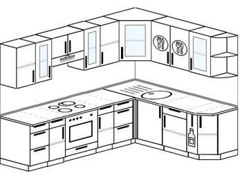 Планировка угловой кухни 7,0 м², 250 на 190 см: верхние модули 72 см, встроенный духовой шкаф, корзина-бутылочница