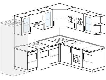 Планировка угловой кухни 7,0 м², 250 на 190 см: верхние модули 72 см, холодильник, отдельно стоящая плита, посудомоечная машина