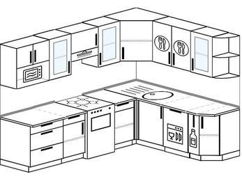 Планировка угловой кухни 7,0 м², 250 на 190 см: верхние модули 72 см, отдельно стоящая плита, посудомоечная машина, корзина-бутылочница, модуль под свч
