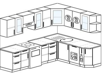 Планировка угловой кухни 7,0 м², 250 на 190 см: верхние модули 72 см, отдельно стоящая плита, посудомоечная машина, корзина-бутылочница