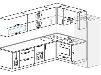 Планировка угловой кухни 6,8 м², 250 на 190 см (зеркальный проект): верхние модули 72 см, корзина-бутылочница, посудомоечная машина, встроенный духовой шкаф, холодильник