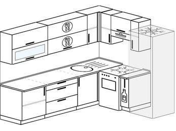 Планировка угловой кухни 6,8 м², 250 на 190 см (зеркальный проект): верхние модули 72 см, отдельно стоящая плита, корзина-бутылочница, холодильник