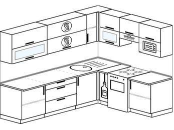 Планировка угловой кухни 6,8 м², 250 на 190 см (зеркальный проект): верхние модули 72 см, корзина-бутылочница, отдельно стоящая плита, верхний модуль под свч
