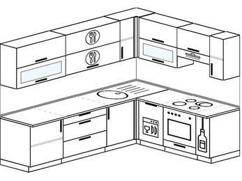 Планировка угловой кухни 6,8 м², 250 на 190 см (зеркальный проект): верхние модули 72 см, посудомоечная машина, встроенный духовой шкаф, корзина-бутылочница