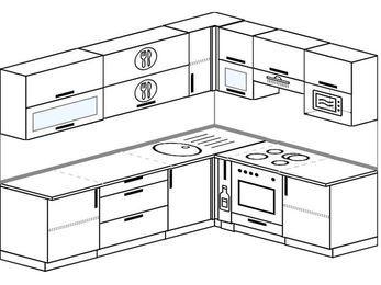 Планировка угловой кухни 6,8 м², 250 на 190 см (зеркальный проект): верхние модули 72 см, корзина-бутылочница, встроенный духовой шкаф, верхний модуль под свч