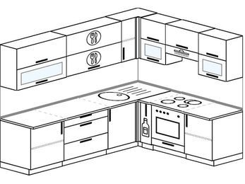 Планировка угловой кухни 6,8 м², 2500 на 1900 мм (зеркальный проект): верхние модули 720 мм, корзина-бутылочница, встроенный духовой шкаф