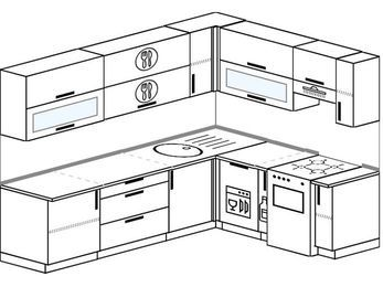Планировка угловой кухни 6,8 м², 250 на 190 см (зеркальный проект): верхние модули 72 см, посудомоечная машина, корзина-бутылочница, отдельно стоящая плита