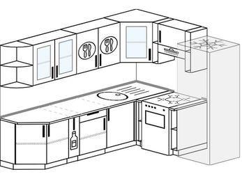 Планировка угловой кухни 6,8 м², 250 на 190 см (зеркальный проект): верхние модули 72 см, корзина-бутылочница, отдельно стоящая плита, холодильник