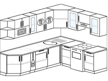 Планировка угловой кухни 6,8 м², 250 на 190 см (зеркальный проект): верхние модули 72 см, корзина-бутылочница, отдельно стоящая плита, модуль под свч
