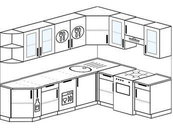 Планировка угловой кухни 6,8 м², 250 на 190 см (зеркальный проект): верхние модули 72 см, корзина-бутылочница, посудомоечная машина, отдельно стоящая плита